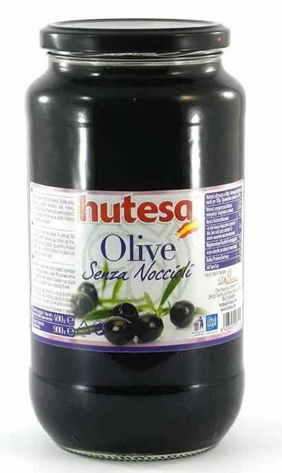 Оливки чорні без кісточки Hutesa Senza Noccioli, 900 г