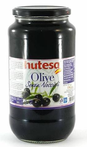 Оливки чорні без кісточки Hutesa Senza Noccioli, 900 г, фото 2