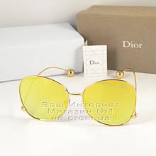 Женские солнцезащитные очки Dior бабочка желтые оправа металлическая под золото Диор люкс реплика