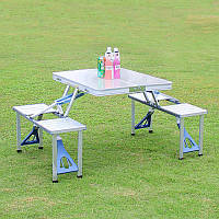 Походный стол усиленный с 4-мя стульями Travel Table раскладной, алюминиевый, высота 67см, фото 1