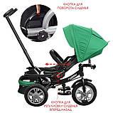 Дитячий триколісний велосипед з ручкою і поворотним сидінням на надувних колесах,TURBOTRIKE зелений, фото 3
