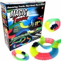 Детский светящийся гибкий трек - конструктор Magic Tracks на 220 деталей, от 3х лет, пластик, трек гоночный, гонки