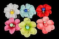 """(Цена за 24шт) Цветок декоративный тканевый """"Bead"""", диаметр 5 см, цвета ассорти, товары для рукоделия, цветок исскуственный, декор"""