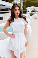 Эффектное нарядное асимметричное платье с воланами арт 133180