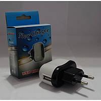 Сетевое зарядное устройство СЗУ USB New charger, USB выход, белый, пластик, Зарядное устройство для телефона