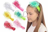 Детская повязка на голову Nepeta украшенная ажурным цветочком с бусиной, аксессуары для создания причесок и образов, бижутерия для волос