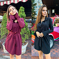 Женское летнее короткое черное бордовое хаки платье рубашка пудровое синее розовое 42-44 44-46 с поясом софт