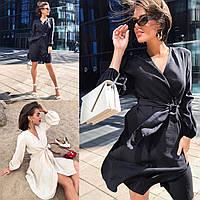 Женское летнее короткое черное бежевое платье на запах с жатки 42-44 44-46классическое с вырезом длинным рукав
