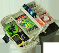 Ящик Aquatech 2702 для рыбалки, 2 полки, пластик, размер 195х400х150мм, рыбацкий ящик, ящик для рыбацких снастей
