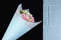 (Цена за 20 шт.) Бумага-калька с газетным принтом голубая, фото 1