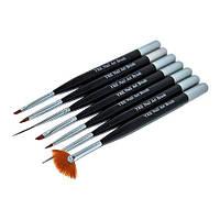 Набор кистей 7шт для рисования (черная ручка)
