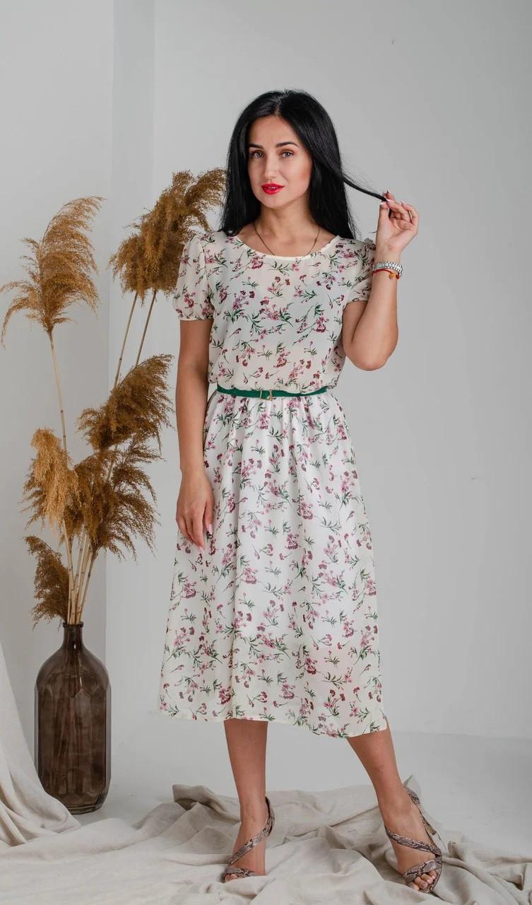 Шифоновое летнее платье белое