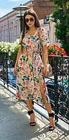 Летнее женское платье с разрезом 00558 KML XS-XXL (42-52) Белый c розовім XL-XXL