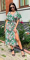 Летнее женское платье с разрезом 00558 KML XS-XXL (42-52) Белый c зеленім XL-XXL