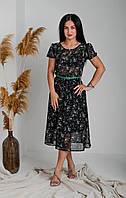 Платье шифоновое с поясом, фото 1