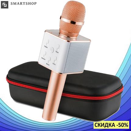 Караоке микрофон Q7 в чехле - Беспроводной Bluetooth микрофон для караоке (Розово-Золотой), фото 2