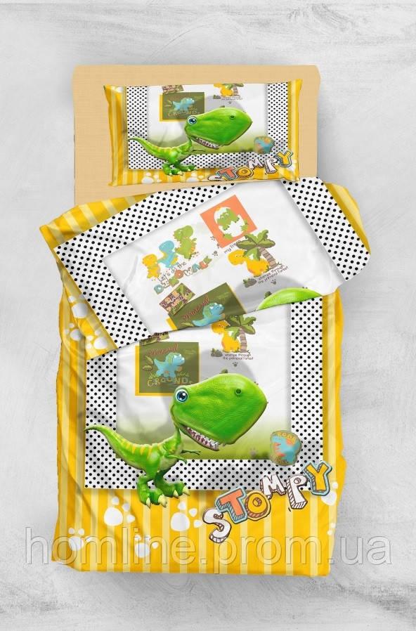 Дитяче постільна білизна для підлітків Eponj Home 3D Micro Satin Stompy Sari-Yesil полуторний розмір