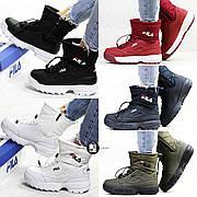 Женские зимние ботинки/дутики c мехом в стиле Fila Disruptor II 7 цветов в наличии