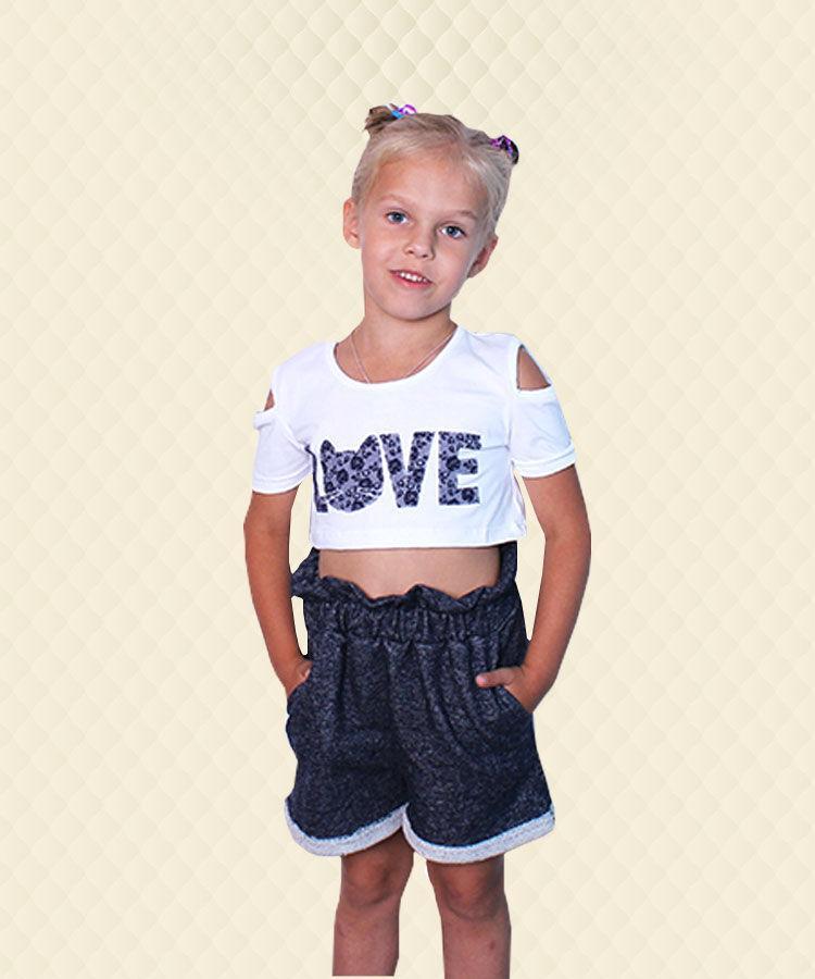 Костюм з видовженими шортами Love фуликра + двухнитка