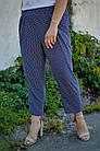 Миранда. Укороченные летние брюки женские больших размеров. Синий ромб., фото 2