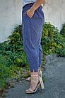 Миранда. Укороченные летние брюки женские больших размеров. Синий ромб., фото 3