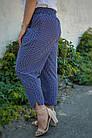 Миранда. Укороченные летние брюки женские больших размеров. Синий ромб., фото 4