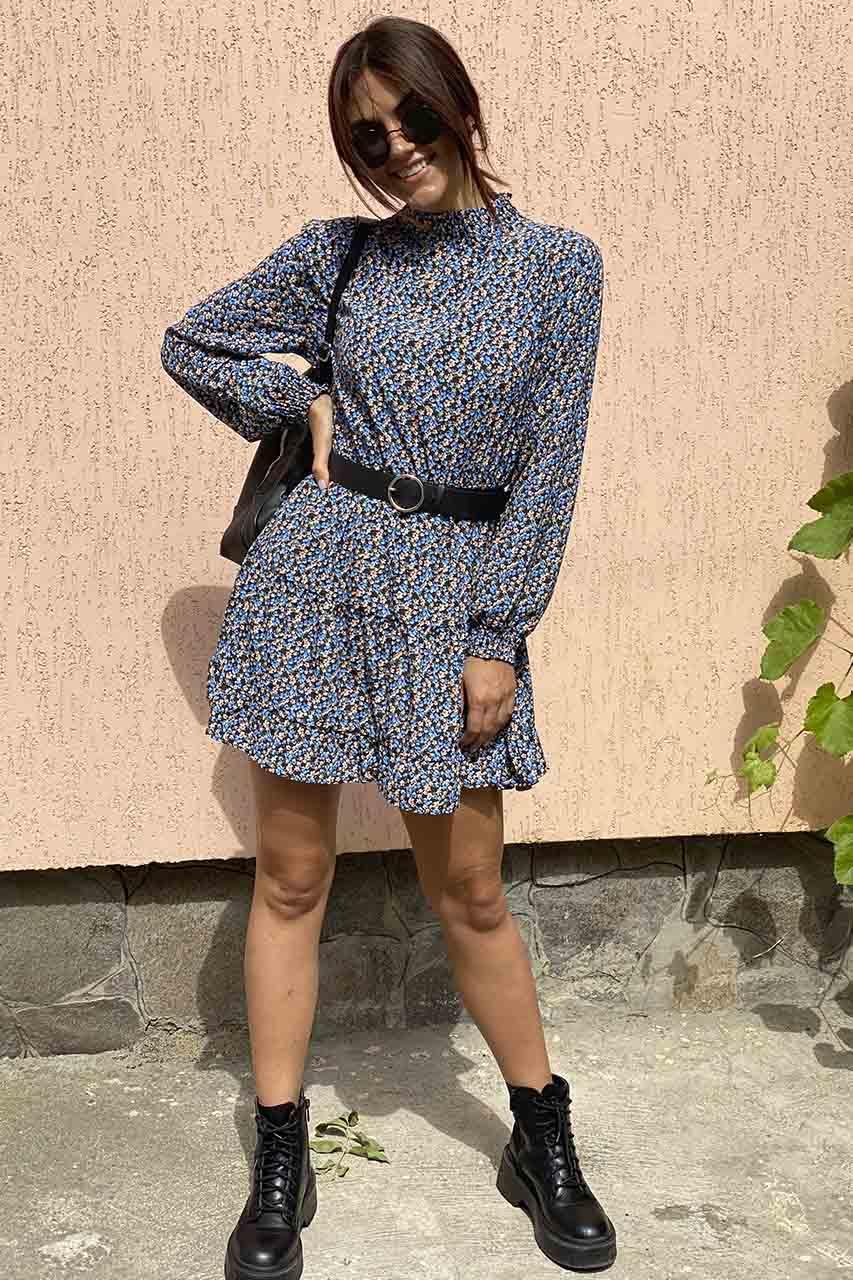 Оригинальное платье мини с воротником стойкой и длинными рукавами  Clew - голубой цвет, M (есть размеры)