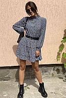 Оригинальное платье мини с воротником стойкой и длинными рукавами  Clew - голубой цвет, M (есть размеры), фото 1