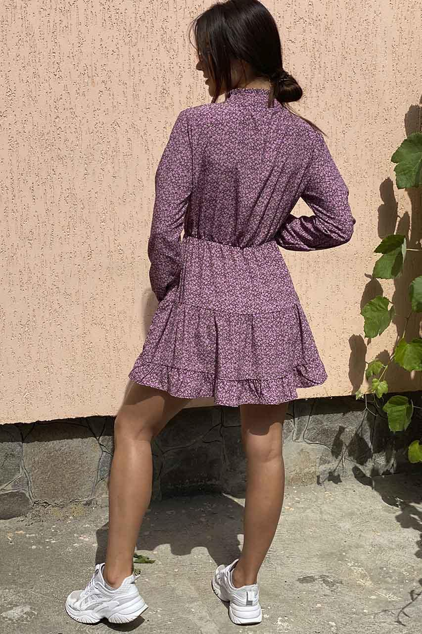 Оригинальное платье мини с воротником стойкой и длинными рукавами  Clew - розовый цвет, M (есть размеры)