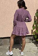 Оригинальное платье мини с воротником стойкой и длинными рукавами  Clew - розовый цвет, M (есть размеры), фото 1