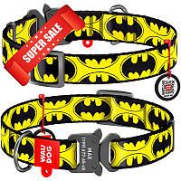 Ошейник для собак нейлоновый WauDog Nylon Бэтмен Лого, обхват шеи - 24-40 см, ширина - 20 мм