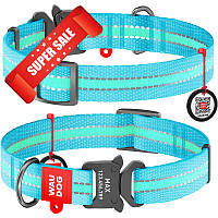 Ошейник для собак нейлоновый WauDog Nylon, светонакопительный с площадкой для гравировки и адресником, голубой, обхват шеи - 35-58 см, ширина - 25 мм
