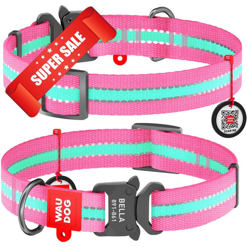 Ошейник для собак нейлоновый WauDog Nylon, светонакопительный с площадкой для гравировки и адресником, розовый, обхват шеи - 23-35 см, ширина - 15 мм