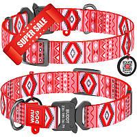 Ошейник для собак нейлоновый WauDog Nylon Этно с площадкой для гравировки и адресником, красный, обхват шеи - 31-49 см, ширина - 25 мм