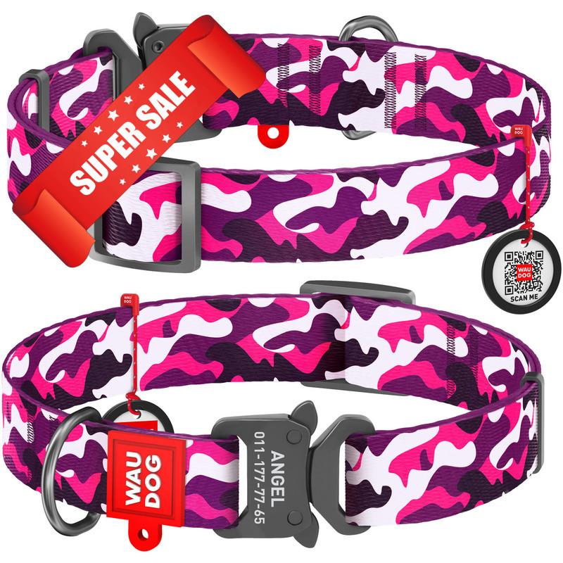 Ошейник для собак нейлоновый WauDog Nylon Розовый камо, обхват шеи - 24-40 см, ширина - 20 мм