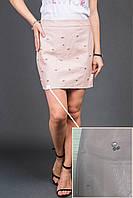Стильная юбка с бусинами и изъяном LUREX - пудра цвет, XL (есть размеры)
