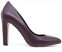 Женские натуральные кожаные демисезонные классические бордовые туфли на высоком устойчивом каблуке Польша