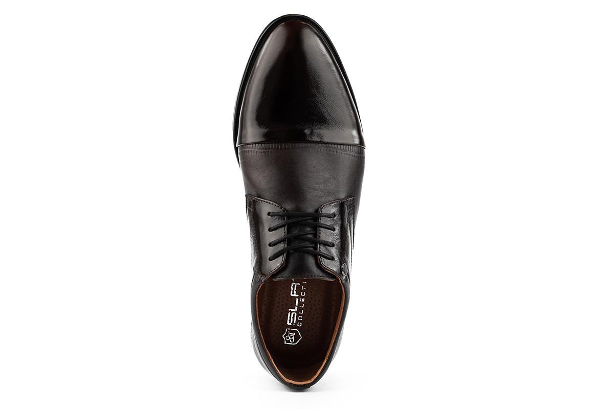 Мужские туфли кожаные весна/осень коричневые Slat 19401 на шнурках