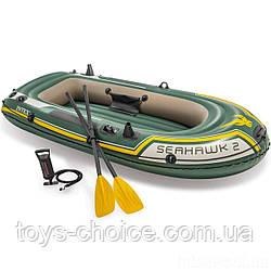 Двухместная надувная лодка Intex 68347 Seahawk 2 Set ПВХ с веслами и насосом, размер 236x114x41 см. Зеленая PS