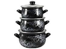"""Набор эмалированной посуды 3 предмета Серебро """"Interos"""""""