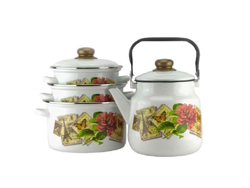 Набор эмалированной посуды Эмаль Париж- ретро 4 предмета (№2-3044/4)