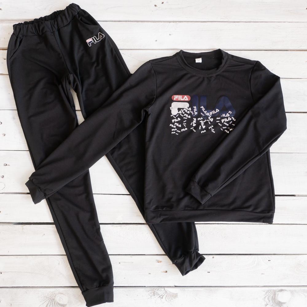 56096-1 черный женский спортивный костюм из двунитки (42,44, 2 ед.)