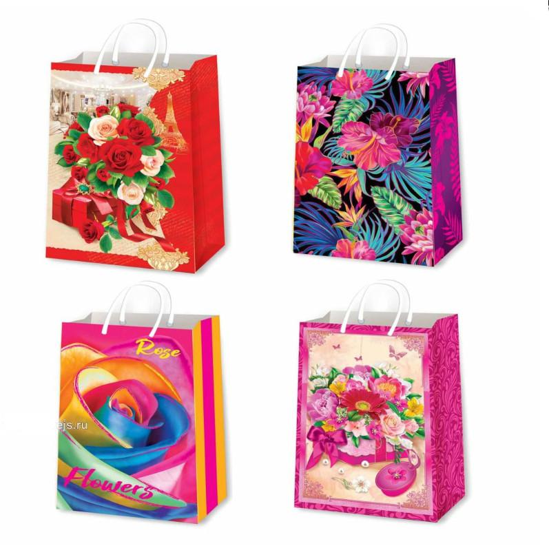 Подарочные пакеты женские размер 26х17 см (12 шт/уп ...