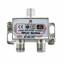 Розгалужувач Eurosky Splitter 2-WAY 5-2500MHZ з проходом живлення, корпус металевий SKL31-150776