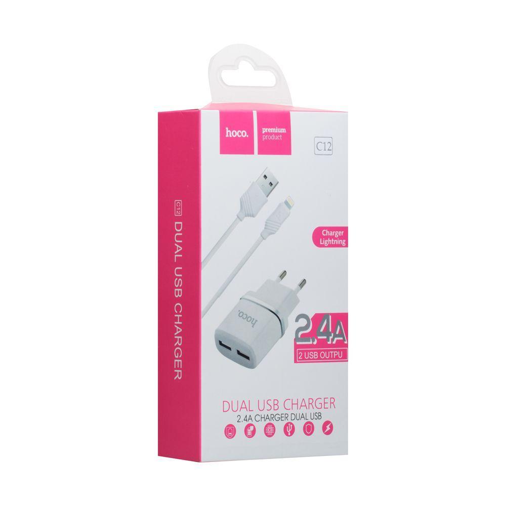 Сетевое зарядное устройство Hoco C12 Lightning SKL11-231594