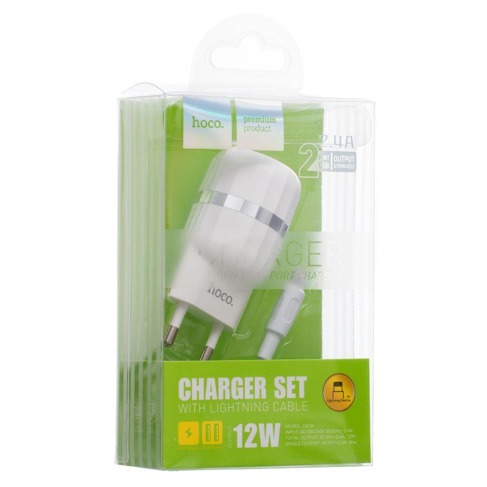 Сетевое зарядное устройство Hoco C41A Lightning SKL11-231753