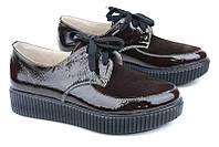 Женские осенние кожаные туфли лакированные коричневые
