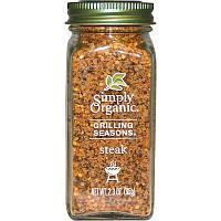 Simply Organic, Grilling Seasons, органическая приправа для стейка, 65 г