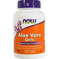 Now Foods, Aloe Vera Gels, Органическое алоэ вера (Aloe barbadensis внутр. лист 100 мягких капсул