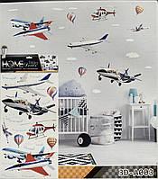 """Интерьерная декоративная наклейка на стену в детскую комнату """"Воздушный транспорт: самолет, вертолет 3D"""""""